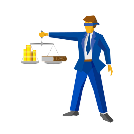 Man with balance in hand, looks like a god of justice Themis (Femida). Money and lawbook on the scales. Law and legal concept. Flat style vector clip art. Lawyer isolated on white background.