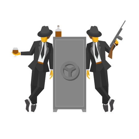 Two gangsters in suits standing near the safe. Two vintage mafia men with whiskey, tommy gun and closed strongbox. Flat vector clip art on white background.