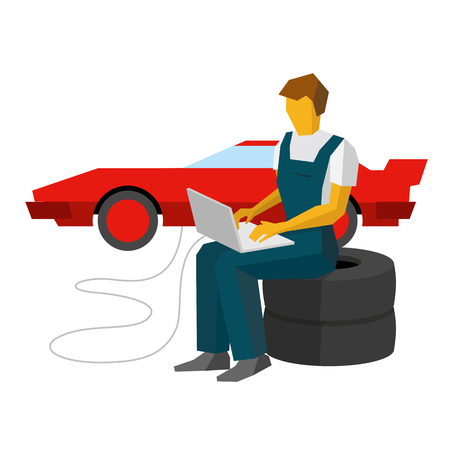 Car mechanic sitting on a tires and adjusts sportcar with laptop. Service station worker typing on notebook. Red supercar tuning. Flat vector clip art on white background. Illustration