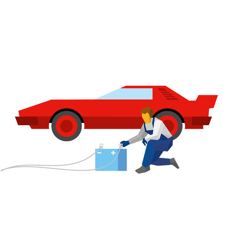 Mechanic recharge battery for red sport auto. Specialist with accumulator sits near a car. Flat style vector illustration isolated on white background. Illustration