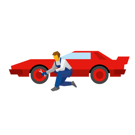 sportcar: Mechanic with wrench repair red sport car. Specialist adjust wheel (or tires) on auto. Flat style vector illustration isolated on white background.
