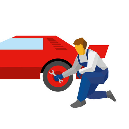 Mechanic with wrench repair red sport car. Specialist adjust wheel (or tires) on auto. Flat style vector illustration isolated on white background.