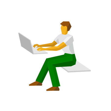 Man in white t-shirt and green trousers working at a laptop. Write mail, typing document. Flat style vector clip art isolated on white background.