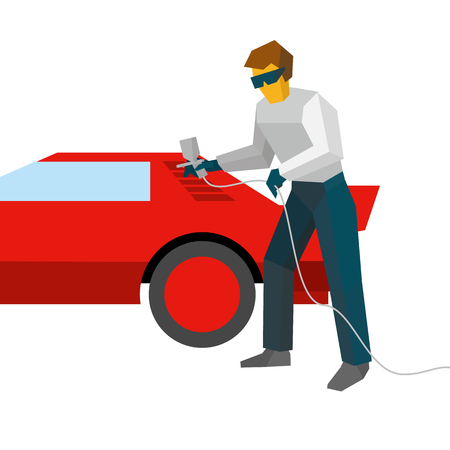 Mechanic spraying paint on red sport car from pulveriser. Spray painting auto with airbrush. Flat style vector illustration isolated on white background.
