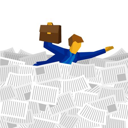 Geschäftsmann, der auf das Meer der Papiere schwimmt. Geschäftskonzept - Mann in der blauen Klage mit Fall in der Hand ertrinkt in den Dokumenten. Vektor ClipArt. Vektorgrafik