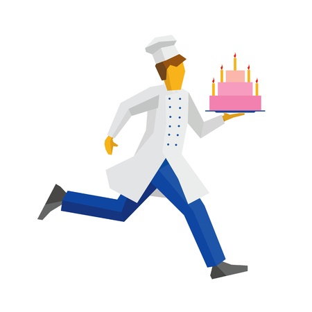 Chef in white hat and coat runs with a cake on a tray. Treat for birthday or other celebration. Cooking or food concept. Simple flat style vector clip art. Illustration