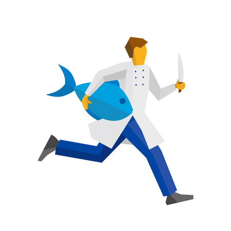 Chef runs with a knife and a big fish in hands. Cooking or food concept. Simple flat style vector clip art. Illustration