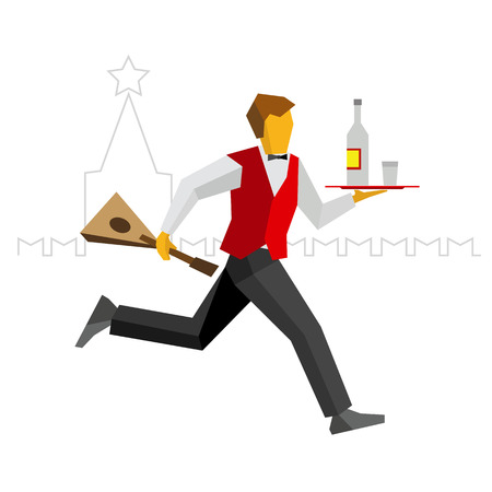 alcohol server: Waiter in red vest and black trousers runs with vodka on a tray and balalalika in hand. Kremlin silhouette at the back. Russian restaurant funny illustration. Simple flat style vector clip art. Illustration