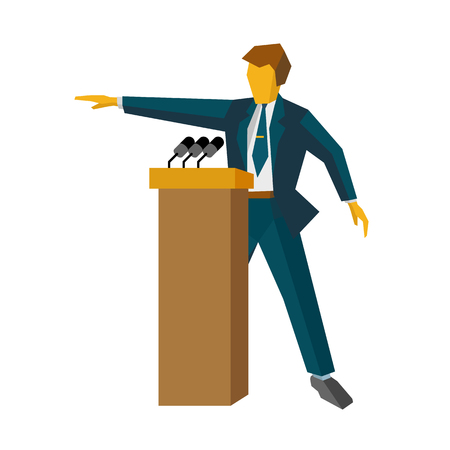 hustings: Speaker at podium. Man in suit standing at rostrum with microphones. Business concept -  press conference, presentation, report. Flat design vector illustration, isolated on white background Illustration