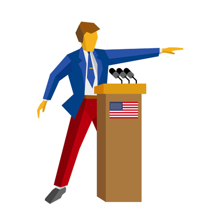 hustings: Speaker at podium. Man in red and blue suit standing at rostrum with USA flag. Press conference of candidate, debate, interview. Flat design vector illustration, isolated on white background