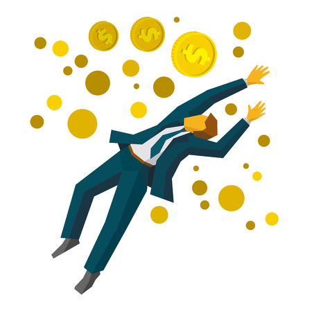 accomplish: Jumping businessman catch a gold coins. Business metaphors - financial success, profit growth, increase sales. Flat style vector clip art isolated on white background.