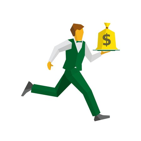 bagful: Waiter in green vest and trousers runs with a money bag on a tray. Dollar sign on a bagful. Business concept - easy money, cash in any time. Simple flat style vector clip art. Illustration