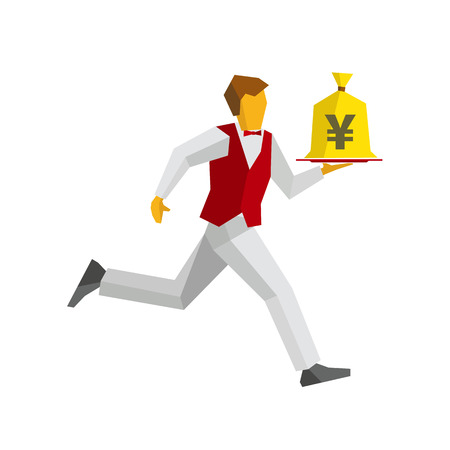 bagful: Waiter in red vest and white trousers runs with a money bag on a tray. Japanese yen sign on a bagful. Business concept - easy money, cash in any time. Simple flat style vector clip art. Illustration