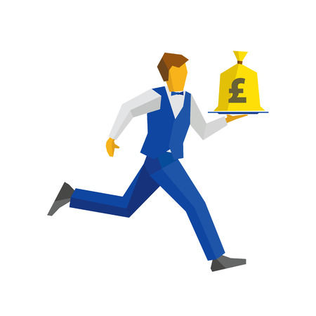 bagful: Waiter in blue vest and trousers runs with a money bag on a tray. UK Pound sign on a bagful. Business concept - easy money, cash in any time. Simple flat style vector clip art.