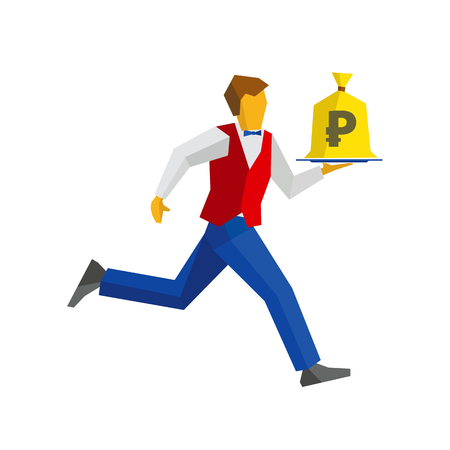 Waiter in red vest and blue trousers runs with a money bag on a tray. Russian ruble sign on a bagful. Business concept - easy money, cash in any time. Simple flat style vector clip art.