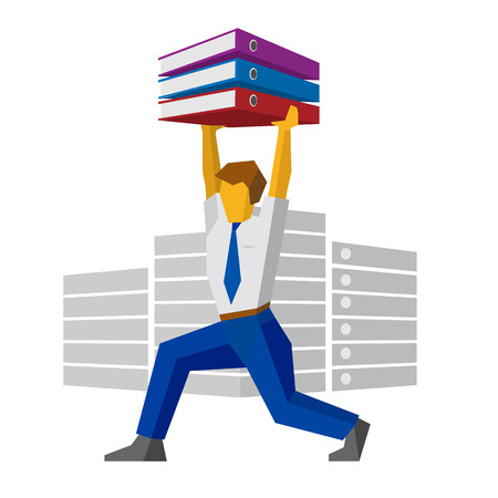 Businessman raises binders with papers like weightlifter. Isolated on white background. Business concept - work with documentation, workflow, bureaucracy. Vector image clip art. Illustration