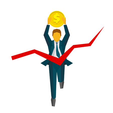 Running businessman with coin crosses a finish line. Red ribbon in the form of graph. Business metaphors - financial success, win the race. Flat style vector clip art isolated on white background.