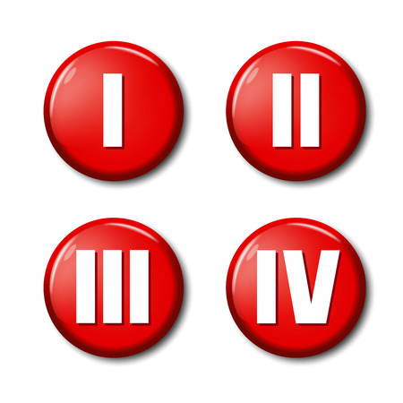 Set of red round button icons with roman numerals 1, 2, 3, 4. Circle label for sport competition places, rating levels. Design elements on white background with transparent shadow. Illustration