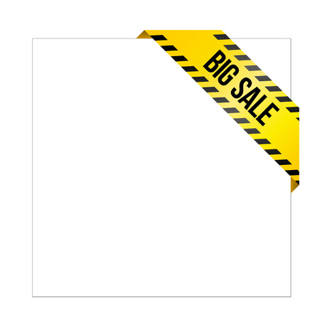 Yellow caution tape with words Big Sale. Corner label painted like danger ribbon. Discount tag for online shops, car services, industrial and engineering companies. Isolated on white background.