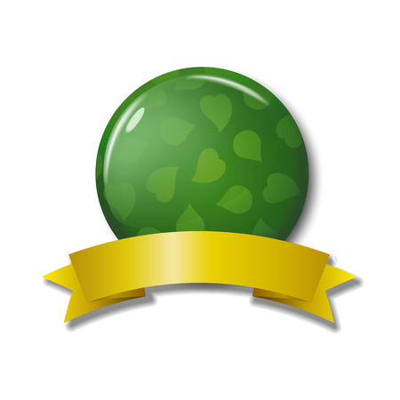 Green round button with leaves and yellow ribbon. Blank tag isolated on white background with transparent shadows. Circle eco label for online shops. Realistic vector illustration.