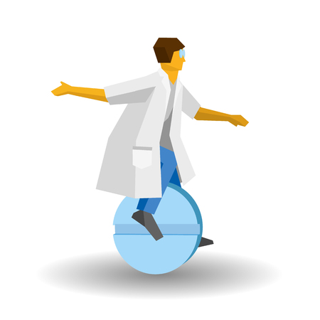 Doctor rides a tablet like a unicycle. Medicine concept - drugs and healthcare. Vector image clip art. Medic isolated on white background.
