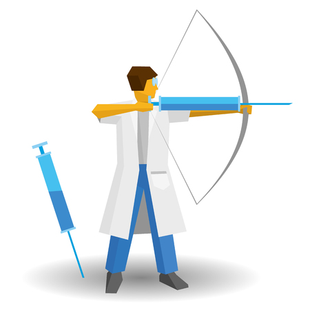 Doctor shooting a syringe like an archer. Medicine concept - injection or vaccination. Flat vector clip art. Medic isolated on white background.