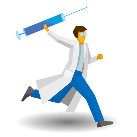 Doctor running with a large syringe. Medicine concept - injection or vaccination. Vector image clip art. Medic isolated on white background.