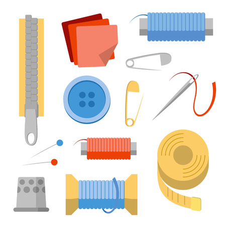 Sewing stuff set. Collection of objects for handicraft and handmade. Needles, pins, thread, buttons, fabric peaces, zipper, thimble. Simple flat style vector clip art.