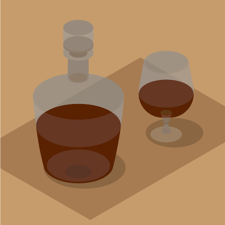 facer: 3d isometric bottle and wineglass with brandy. Still life with bottle in brown. Vector clip art. Illustration