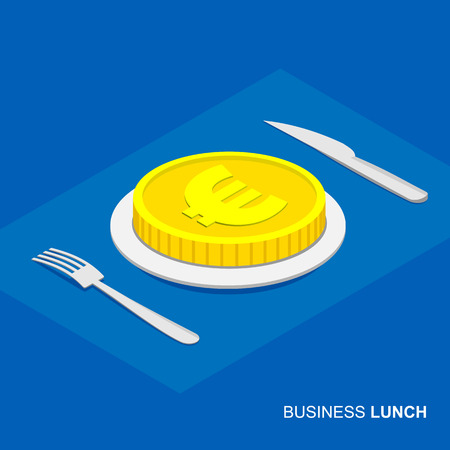 Business lunch concept infographic. Isometric 3d euro coin on plate isolated on white background. Cutlery fork and knife.