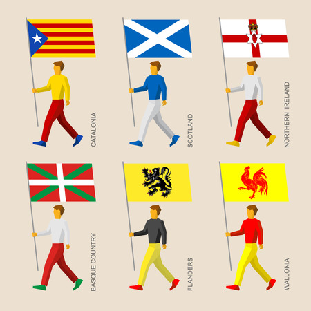 Set of simple flat people with of some European regions. Standard bearers infographic - Catalonia, Basque Country, Scotland, Northern Ireland, Flanders, Wallonia (Walloon) Иллюстрация