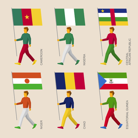 Set of simple flat people with flags of African countries. Standard bearers infographic - Niger, Nigeria, Chad, Equatorial Guinea, Cameroon, Central African Republic