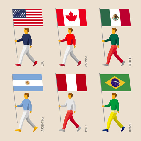 Set of simple flat people with flags of American countries. Standard bearers infographic - United States, Canada, Mexico, Argentina, Peru, Brazil.