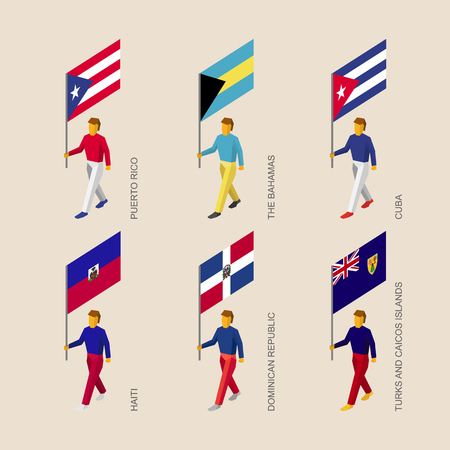 Set of 3d isometric people with flags of Caribbean countries. Standard bearers infographic - Cuba, Dominican Republic, Haiti, Bahamas, Puerto Rico, Turks and Caicos Islands. Illustration