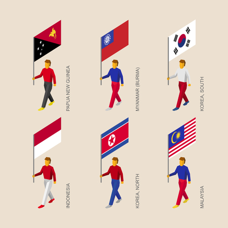 Set of isometric 3d people with flags. Standard bearers infographic - Papua New Guinea, Myanmar, South Korea, North Korea, Indonesia, Malaysia.