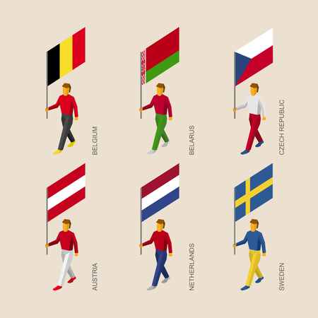 Set of isometric 3d people with flags. Standard bearers - Belgium, Belarus, Czech Republic, Austria, Netherlands, Sweden.