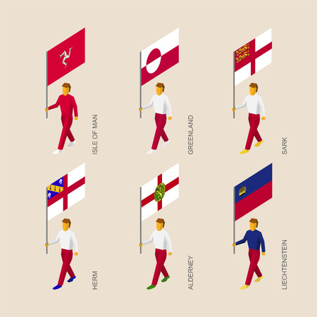 Set of isometric 3d people with flags of countries and islands. Standard bearers infographic - Greenland, Liechtenstein, Isle of Man, Herm, Sark, Alderney. Illustration