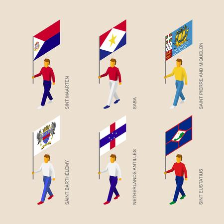 Set of isometric 3d people with flags of islands in Caribbean sea. Standard bearers infographic - Sint Maarten, Saba, Saint Pierre and Miquelon, Saint Barthelemy, Netherlands Antilles, Sint Eustatius Illustration