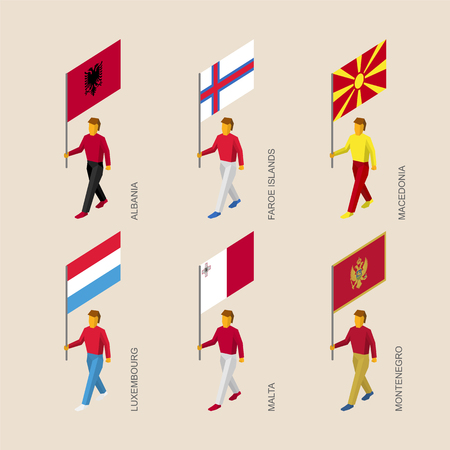 Set of isometric 3d people with flags of European countries. Standard bearers infographic - Albania, Faroe Islands, Macedonia, Luxembourg, Malta, Montenegro.