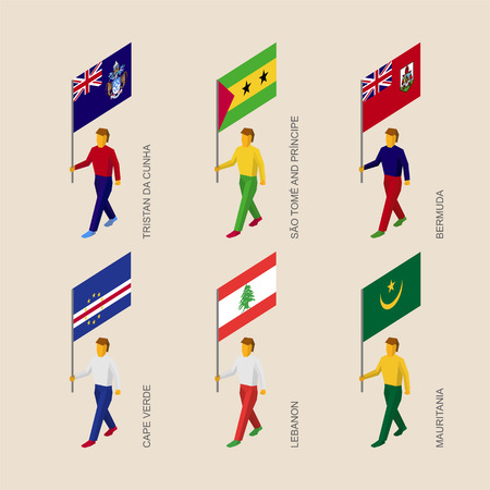 Set of 3d isometric people with flags of African countries an islands in Atlantic ocean. Standard bearers infographic - Mauritania, Cape Verde, Lebanon, Tristan da Cunha, Sao Tome, Bermuda.