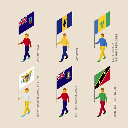 Set of 3d isometric people with flags of Caribbean countries. Standard bearers infographic - Montserrat, Barbados, Virgin Islands, Saint Kitts and Nevis, Saint Vincent and Grenadines. Illustration