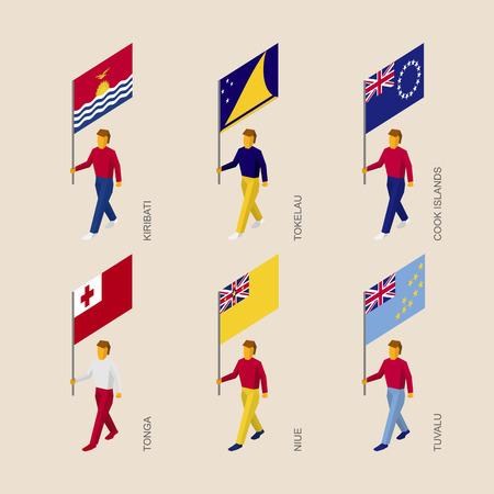Set of isometric 3d people with flags of countries in Oceania. Standard bearers infographic - Kiribati, Tokelau, Cook Islands, Tonga, Niue, Tuvalu.