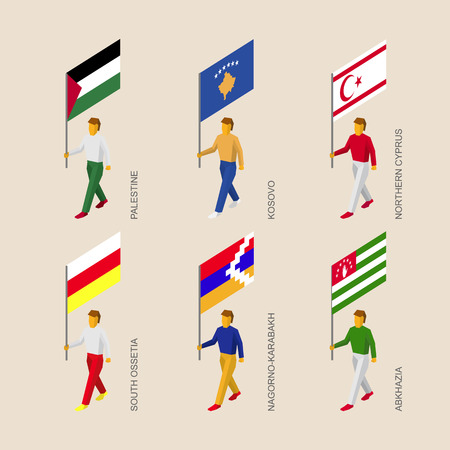 Set of 3d isometric people with flags of a disputed territories and partially recognised states. Standard bearers - Palestine, Kosovo, Northern Cyprus, Abkhazia, South Ossetia, Nagorno-Karabakh Illustration