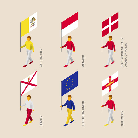 Set of 3d isometric people with flags of European countries and EU. Standard bearers infographic - Vatican, Monaco, Order of Malta, Jersey, Guernsey, European Union.