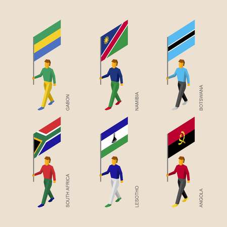 Set of 3d isometric people with flags of African countries. Standard bearers infographic - Gabon, Namibia, Botswana, South Africa, Lesotho, Angola.