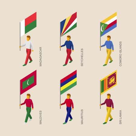 ceylon: Set of isometric 3d people with flags of countries in Indian ocean. Standard bearers infographic - Madagascar, Seychelles, Comoro Islands, Maldives, Mauritius, Sri Lanka.