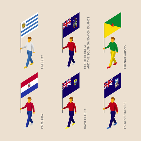 Set of 3d isometric people with flags of South America  countries. Standard bearers infographic - Uruguay, Paraguay, South Georgia, French Guiana, Saint Helena, Falkland Islands