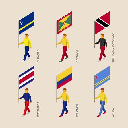 Set of 3d isometric people with flags of Caribbean countries. Standard bearers infographic - Curacao, Grenada, Trinidad and Tobago, Costa Rica, Colombia, Aruba. Illustration