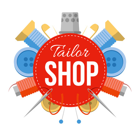 Tailor shop sign with sewing stuff. Tools for handmade at the sides: needles, pins, thread, buttons. Simple style vector symbol.