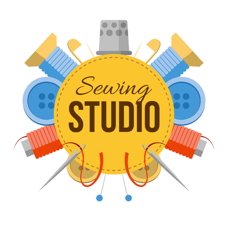 Sewing studio sign with tailors stuff. Tools for handmade at the sides: needles, pins, thread, buttons. Simple style vector atelier logo.